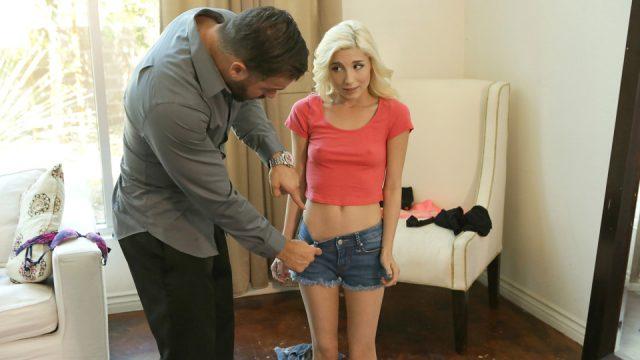 Slutty schoolgirl does not wear underwear